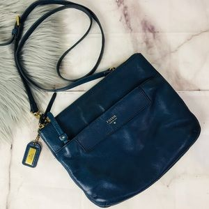 Fossil navy blue leather crossbody bag
